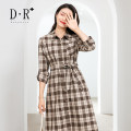 Dress Autumn 2020 lattice S,M,L,XL,2XL longuette singleton  Long sleeves commute Polo collar middle-waisted lattice Single breasted A-line skirt routine Type A Britain Button cotton