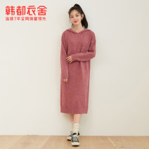Dress Spring 2021 Brick red Khaki S M L Mid length dress singleton  Long sleeves commute Hood Loose waist Solid color Socket other routine Others 18-24 years old Type H Hstyle / handu clothing house Korean version JM9957 81% (inclusive) - 90% (inclusive) acrylic fibres Pure e-commerce (online only)
