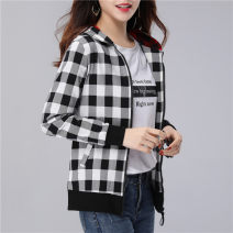 Women's large Spring 2021 Grey, red Large L suggests 100-125 Jin, large XL suggests 125-150 Jin, large 2XL suggests 150-170 Jin, large 3XL suggests 170-200 Jin Jacket / jacket singleton  commute easy moderate Cardigan Long sleeves houndstooth  Korean version Hood routine polyester routine A885 pocket
