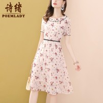 Dress Summer 2021 Decor S M L XL XXL Mid length dress singleton  Short sleeve commute Crew neck middle-waisted zipper A-line skirt puff sleeve 35-39 years old Type A POEMLADY Ol style Pleated zipper lace printing P21XL55226 More than 95% polyester fiber Polyester 100%