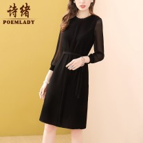 Dress Spring 2021 black M L XL XXL XXXL S Middle-skirt singleton  Nine point sleeve commute Crew neck middle-waisted Solid color zipper A-line skirt routine 35-39 years old Type A POEMLADY Ol style Bowknot pleating pleated lace stitching bandage gauze P21CL54754 More than 95% polyester fiber