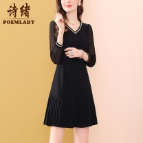 Dress Spring 2021 black M L XL XXL XXXL S Short skirt singleton  Nine point sleeve commute V-neck middle-waisted Solid color zipper A-line skirt puff sleeve 35-39 years old Type A POEMLADY Ol style Pleated three dimensional decorative mesh zipper P21CL54625 More than 95% polyester fiber