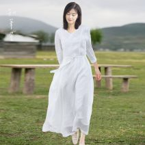 Dress Summer 2021 white S,M,L,XL Mid length dress singleton  three quarter sleeve commute V-neck middle-waisted Solid color Socket A-line skirt routine Others 35-39 years old Type A Know the brush and ink literature Pocket, lace up More than 95% other hemp