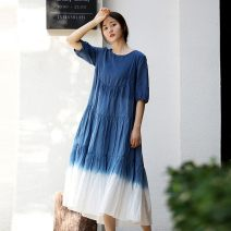 Dress Summer 2020 Gradient blue M, L longuette singleton  elbow sleeve commute Crew neck Loose waist Socket Cake skirt other Others 35-39 years old Know the brush and ink literature Pleating, stitching More than 95% other cotton
