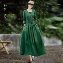 Dress Autumn 2020 green Average size longuette singleton  Long sleeves commute V-neck Loose waist Solid color Socket A-line skirt routine Others 35-39 years old Type A Know the brush and ink literature Frenulum YS 00151 More than 95% other hemp
