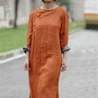 Dress Autumn of 2018 Average size longuette singleton  Long sleeves commute Crew neck Loose waist Solid color Single breasted other routine Others 35-39 years old Type A Know the brush and ink Retro Pocket, asymmetric, worn, button More than 95% other hemp