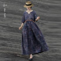 Dress Autumn 2020 Polychromatic stripe M, L longuette singleton  three quarter sleeve commute other Loose waist other Socket A-line skirt routine Others Type A Know the brush and ink Retro Fold, pocket, stitching, make old WYX 208012 More than 95% brocade hemp