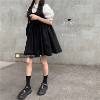 Dress 30% and below Type A Spring 2021 Short skirt singleton  Sleeveless commute Solid color Condom 18-24 years old A-line skirt straps Shirt 171, vest skirt 172