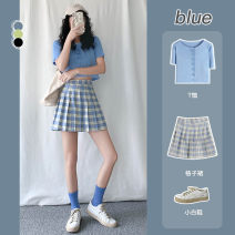 skirt Summer 2020 XS S M L XL Blue (pleated) green (pleated) black (pleated) (buttocks) blue (buttocks) green (buttocks) black pink black white gray Short skirt Sweet High waist Pleated skirt Type A 18-24 years old Y-160 More than 95% other Earfado / yafudo polyester fiber Pleated zipper college