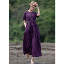 Dress Summer 2020 violet S,M,L,XL longuette singleton  Short sleeve commute Crew neck lattice A-line skirt routine Type A Art in literature Pleated front collar and back middle cardigan lace up waist side seam pocket wood button drawing yarn dyed jacquard YX138 More than 95% hemp
