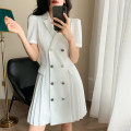 Dress Autumn 2020 White! S M L XL Short skirt singleton  Short sleeve commute tailored collar High waist Solid color double-breasted A-line skirt routine Others 25-29 years old Type A Wmgg / Wumei QIANJIAO Korean version Button wmgg001443 71% (inclusive) - 80% (inclusive) polyester fiber