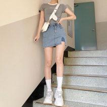 skirt Summer 2021 S [90-100kg], m [100-110kg], l [110-120kg], XL [120-135kg], 2XL [135-150kg], 3XL [150-165kg], 4XL [165-175kg], 5XL [175-200kg] Black, light blue Short skirt commute High waist A-line skirt Solid color Type A 18-24 years old 51% (inclusive) - 70% (inclusive) Denim cotton
