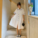 Dress Summer 2021 white Average size longuette singleton  Short sleeve Sweet Admiral High waist Solid color Single breasted A-line skirt routine 18-24 years old Type A Button 71% (inclusive) - 80% (inclusive) cotton Cotton 74% polyester 26% college Pure e-commerce (online only)