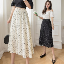 skirt Summer 2021 Average size Apricot, black Mid length dress commute High waist A-line skirt Dot 18-24 years old 51% (inclusive) - 70% (inclusive) other