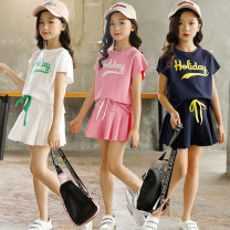 suit Harpy pocket Milky white, dark blue, black, pink, bright yellow, rose pink female summer motion Short sleeve + skirt 2 pieces routine There are models in the real shooting Socket nothing Solid color cotton friend Expression of love TQ088 Class B Cotton 93% polyurethane elastic fiber (spandex) 7%