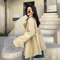 Windbreaker Spring 2021 S M L Khaki black Long sleeves routine Medium length commute double-breasted tailored collar routine Solid color Straight cylinder Korean version Ha Qian 25-29 years old Pocket lace up button 96% and above polyester fiber polyester fiber polyester fiber Polyester 100%