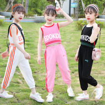 suit Ankuman White pink black 110cm 120cm 130cm 140cm 150cm 160cm female summer Korean version Short sleeve + pants 2 pieces Thin money There are models in the real shooting Socket nothing Solid color cotton children Expression of love AKM-DDG1916 Class B Other 100% Summer 2021 Chinese Mainland
