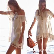 Dress Summer of 2019 white S. M, l, tailored Short skirt singleton  Short sleeve Sweet One word collar Loose waist Solid color Socket A-line skirt Horn sleeve Breast wrapping Type H Cut out, stitching, lace SMNHZD16045 71% (inclusive) - 80% (inclusive) Chiffon Cellulose acetate Bohemia