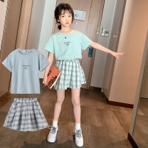 suit Good boy green 110cm,120cm,130cm,140cm,150cm,160cm female summer Sweet Short sleeve + skirt 2 pieces Thin money There are models in the real shooting Socket nothing Cartoon animation other children Expression of love 66-3 other Cotton 95% viscose (viscose) 5% Chinese Mainland Guangdong Province