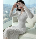 Women's large Spring 2021 Dress S M L XL Dress singleton  commute Self cultivation moderate Socket Long sleeves Solid color Korean version V-neck Medium length polyester fiber Three dimensional cutting routine Princess Tina 25-29 years old Lace stitching 96% and above Medium length Princess Dress