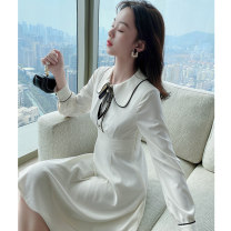 Women's large Spring 2021 Dress L XL S M Dress singleton  commute Self cultivation moderate Socket Long sleeves Solid color Korean version Polo collar routine polyester fiber Three dimensional cutting bishop sleeve Princess Tina 25-29 years old Button 96% and above Middle-skirt other zipper