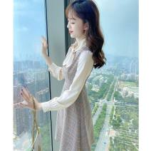 Women's large Spring 2021 Dress S M L XL Dress singleton  commute Self cultivation moderate Socket Long sleeves lattice Korean version other routine polyester fiber Three dimensional cutting routine DN221 Princess Tina 25-29 years old Button 96% and above Middle-skirt Pure e-commerce (online only)
