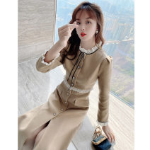 Women's large Winter 2020 Khaki black S M L XL Dress singleton  commute Self cultivation moderate Cardigan Long sleeves Solid color Korean version Crew neck Medium length polyester fiber Three dimensional cutting routine Princess Tina 25-29 years old fungus 96% and above Medium length other