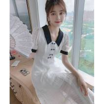 Women's large Summer 2020 Dress XS S M L Dress singleton  commute Self cultivation Socket Short sleeve Solid color Korean version other Medium length polyester fiber Three dimensional cutting puff sleeve Princess Tina 25-29 years old zipper 96% and above longuette Pure e-commerce (online only) zipper