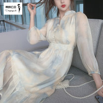 Women's large Spring 2021 Dress S M L XL Dress singleton  commute Self cultivation moderate Socket Long sleeves Decor Korean version V-neck Medium length polyester fiber Three dimensional cutting routine Princess Tina 25-29 years old Button 96% and above Medium length Pure e-commerce (online only)