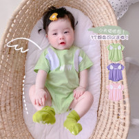 Jumpsuit / climbing suit / Khaki Other / other Class A currency Green, purple, pink 59cm,66cm,73cm,80cm,90cm cotton summer Short sleeve Trigonometry Korean version There are models in the real shooting nothing Cotton 95% other 5% Socket hy21232