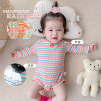 Jumpsuit / climbing suit / Khaki Other / other Class A female Strawberries, flowers, wings 66cm,73cm,80cm,90cm cotton spring and autumn Long sleeves Trigonometry Korean version There are models in the real shooting nothing Cotton 95% other 5% Socket hy66543 Chinese Mainland Shanghai Shanghai