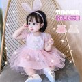 Dress female Other / other 66cm,73cm,80cm,90cm,100cm Cotton 95% other 5% summer princess Short sleeve Solid color cotton Cake skirt Class A 3 months, 12 months, 6 months, 9 months, 18 months, 2 years old, 3 years old