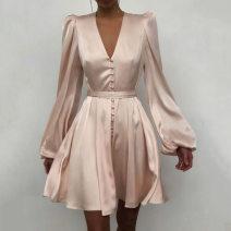 Dress Spring of 2019 White, black, pink, khaki, sky blue, letter, safflower, blue, broken flower, elephant black, elephant blue S,M,L,XL 31% (inclusive) - 50% (inclusive) cotton