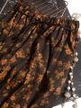 skirt Spring 2021 160/68B(M),165/72B(L) Small brown black yellow flowers Mid length dress commute Natural waist Decor Type H F0021 More than 95% Pu Xu silk printing Retro
