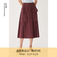 skirt Spring 2021 S M L XL Purplish red Mid length dress commute Natural waist Solid color Type A M1AY26312 More than 95% other AUM cotton Simplicity Cotton 100% Same model in shopping mall (sold online and offline)