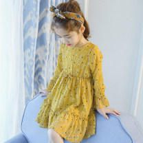 Dress female Cotton 70% other 30% spring and autumn princess Long sleeves Broken flowers Chiffon Lotus leaf edge YM Class B 2, 3, 4, 5, 6, 7, 8, 9, 10, 11, 12, 13, 14 years old Chinese Mainland