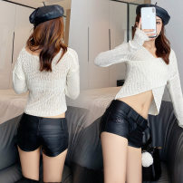 Casual pants black S,M,L,XL Spring 2021 shorts Straight pants low-waisted routine 18-24 years old 71% (inclusive) - 80% (inclusive) Other / other PU leather Nail bead