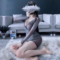 Nightdress Other / other Black, gray Average size sexy Long sleeves Short skirt stripe youth V-neck nylon