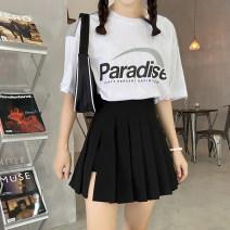 skirt Spring 2021 S,M,L,XL,2XL,3XL black Short skirt Versatile High waist Pleated skirt Solid color Type A other polyester fiber