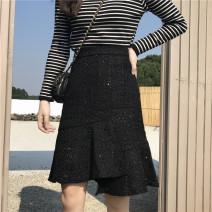 skirt Winter of 2019 M,L,XL,2XL,3XL,4XL black Mid length dress Versatile High waist Ruffle Skirt Solid color Type A Wool Ruffles, zippers