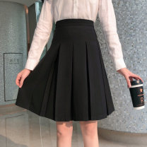 skirt Winter of 2019 M,L,XL,2XL,3XL,4XL black Mid length dress commute High waist Pleated skirt Solid color Type A other polyester fiber Pleated, zipper Korean version