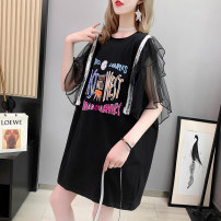 T-shirt Orange black white Average size Summer 2021 Short sleeve Crew neck easy Medium length routine commute cotton 96% and above 18-24 years old Korean version originality letter Boli square printing Cotton 96% pet 4% Pure e-commerce (online only)