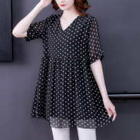 Women's large Summer 2021 Black, black Big XL, big XXL, big XXL, big XXXXL, big XXXXL, big L, m, 6xl Other oversize styles singleton  commute easy thin Socket Short sleeve Dot Korean version V-neck Medium length polyester printing and dyeing routine 30-34 years old 91% (inclusive) - 95% (inclusive)