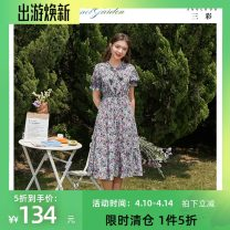Dress Summer 2020 violet 150/76A/XS,155/80A/S,160/84A/M,165/88A/L,170/92A/XL Mid length dress singleton  Short sleeve commute V-neck Elastic waist Broken flowers Socket A-line skirt pagoda sleeve 25-29 years old Type X Tricolor lady Bow, print D024023L20 polyester fiber