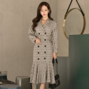 Dress Winter of 2018 Picture color S,M,L,XL Mid length dress singleton  Long sleeves commute tailored collar High waist lattice double-breasted Ruffle Skirt Others 18-24 years old Korean version Ruffles, stitching, buttons