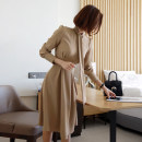 Dress Winter 2020 Navy, Khaki S,M,L,XL Mid length dress singleton  Long sleeves commute V-neck High waist Solid color zipper A-line skirt routine Others 25-29 years old Type A Korean version