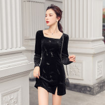Dress Autumn 2020 black S,M,L,XL Short skirt singleton  Long sleeves commute square neck High waist Solid color zipper One pace skirt routine 18-24 years old Korean version Open back, stitching, zipper other