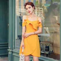 Dress Summer 2020 violet S,M,L,XL Short skirt singleton  Sleeveless commute V-neck High waist Solid color zipper A-line skirt Lotus leaf sleeve 18-24 years old Type A Korean version Ruffle, open back, stitching, zipper