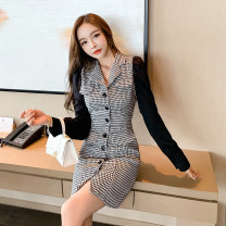 Dress Autumn 2020 Black, kiwi S,M,L,XL Short skirt singleton  Long sleeves commute tailored collar High waist houndstooth  Single breasted One pace skirt shirt sleeve Others 18-24 years old Type X Korean version Pockets, panels, buttons other