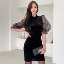 Dress Winter 2020 Black, green S,M,L,XL Short skirt singleton  elbow sleeve commute Half high collar High waist Solid color zipper One pace skirt puff sleeve 25-29 years old Type X Korean version